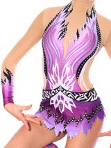 blue lined leotard with crystals