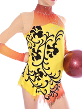 rhythmic gymnastics yellow and orange for competition